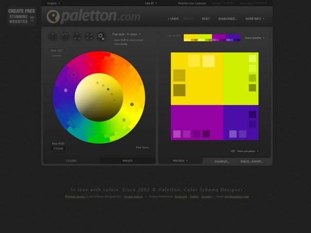 Online tool per la ricerca di colori complementari per realizzazioni grafiche