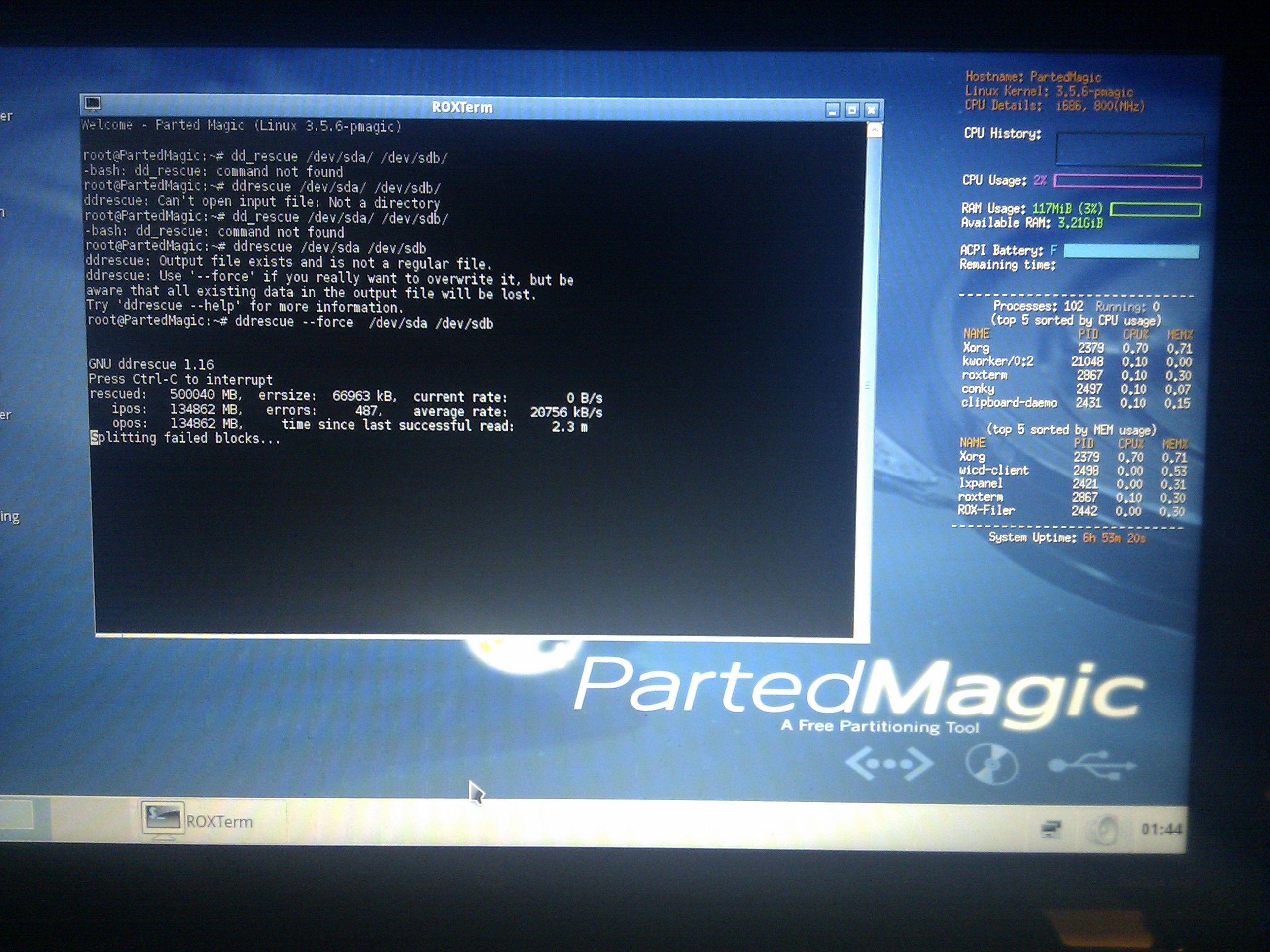 Sistema instabile, problemi di disco, Smart Hard Disk Error 301 su HP, risolto con ddrescue.